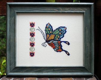 """Butterfly Cross Stitch Instant Download """"Joy Of Spring"""" Pattern. Counted Embroidery Chart. Floral Band. X Stitch. DIY Home Decor."""