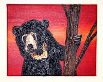 Original Sun Bear Molding Paste and Acrylic Paint Mixed Media Artwork - From the Endangered Species Series