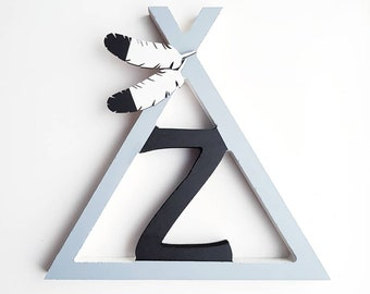 22cm wooden teepee initial letter wigwam tent feather adventure decoration nursery bedroom ornament kids room children gift name indian
