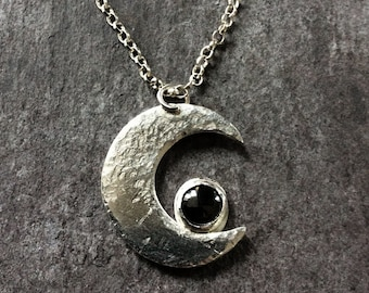 Crescent Moon Silver and Haematite necklace