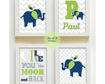 Navy Lime and Grey Nursery, Elephant Nursery Wall Art, Giraffe Nursery, Baby Boy Nursery Prints, Baby Boy Wall Art, Set of four prints