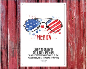 red white and blue bbq invitation 4th of july bbq invitation