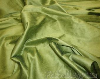Avocado Shantung Dupioni Faux Silk fabric per yard