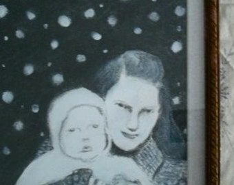 Magaret and Sam out in the Snow - Original Drawing Framed