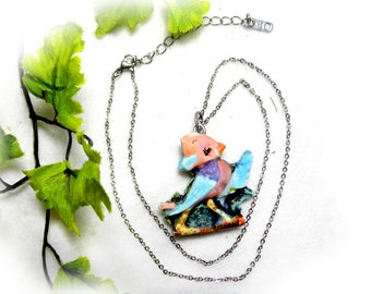 Ceramic Bird Necklace, Bird Jewelry, 2 sided necklace ,  Ladies Gift Ideas, pendant necklace ,   # 7