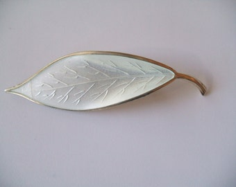 Vintage Norway Sterling Silver Gold Wash Enamel Brooch Pin by Willy Wannaess for David Andersen Norway Guilloche White Leaf Pin AS IS