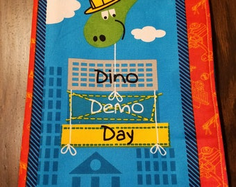 """Kids and Baby Soft Cloth Book - """"Dino Demo Day"""" - 10 Page Children's Book"""