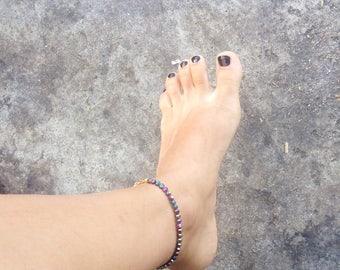 Ankle bracelet gold multicolor beads