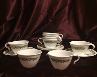 Spring Blossom Pyrex Corelle Compatibles cup and saucer set with sugar and creamer