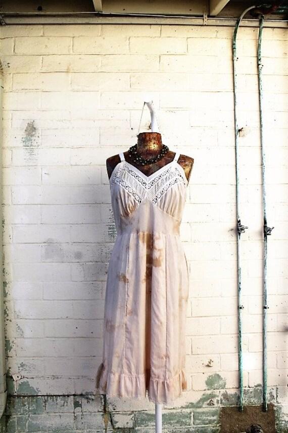 Large Ecru Sundress/Oregon Dress/Farmgirl Dress/Tea stained Dress/Green Earth Dress/Earth Sundress/Tie Dye Slipdress/Oregon Countrygirl Om