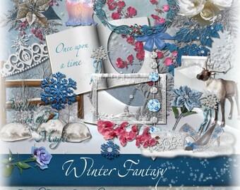 Kerstmis & Winter digitale Scrapbooking Kit
