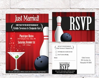Retro/Mad Men Party Invitation with RSVP Postcard. Cocktails & Bowling. Customize for Birthday or Event. Digital  File to Print Yourself.