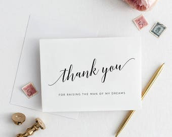 Thank You For Raising the Man of My Dreams Card, Printable Parents in Law Wedding Day Card, Parents-in-Law Wedding Day Card, Parents Card