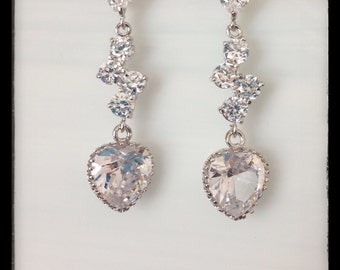 posted cubic zirconia crystal heart earrings, wedding jewelry, bridal jewelry, special occasion jewelry, gift