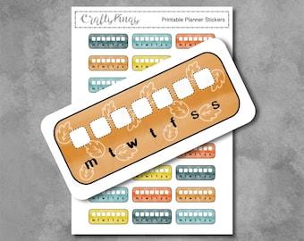 Printable Sticker - Planner Sticker / Bujo Sticker / Weekly Habit Tracker / Fall Colors