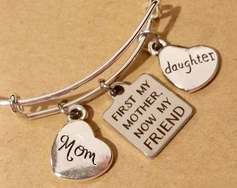 Bangle bracelet - charm bracelet - gift for mother - gift for daughter - mother - daughter - friend - mother and friend - Mothers Day gift