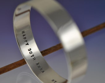 15mm Wide Flat Personalised Silver Bangle