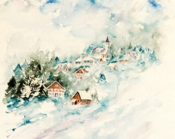 """Mountain original watercolor, winter watercolor, original mountain chalets painting,winter painting - 15"""" x 22"""""""