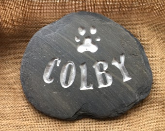 Perfect memorial for a beloved pet, personalised, hand sketched, then carved into natural stone, finished with a waterproof silver