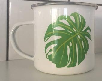 hand printed Monstera Delicosa leaf enamel cup