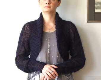 Avant garde braided SHRUG in midnight blue mohair, cropped cardigan modern urban hand knitted, nautical spring sweater, spring fashion
