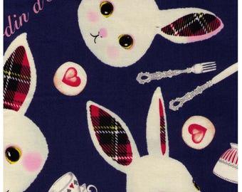 HALF YARD Kobayashi - Alice in Wonderland - Petit Lapin Tea Time on Navy KTS6328-E - Tea Cup, Spoon, Fork, Kettle, Plaid - Japanese Import