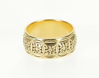 14k 7.9mm Ornate Floral Motif Scalloped Patterned Ring Gold
