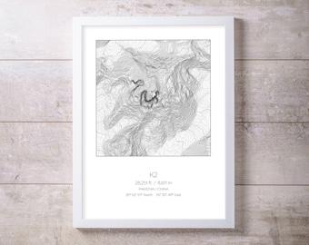 K2, Pakistan China Topography Elevation Print Wall Art