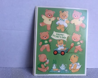 Vintage Stickers St Patrick's Day Teddy Bears by Hallmark 1985