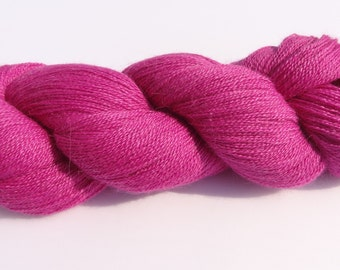 Lace Yarn, bright pink yarn, lace wool,  Rooster wool, alpaca wool and silk, 100g skein of wool in Paita colourway, Cerise wool, UK shop