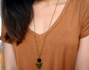 Geometric Necklace - Triangle Necklace- Black cube Long Necklace - Bohemian
