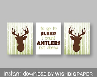 Olive Brown Woodland Deer Wall Art Print Set of Three. Instant Download - Baby Boy Nursery. To Go To Sleep I Count Antlers Not Sheep. Sets