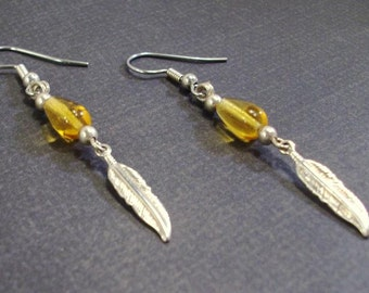 Topaz teardrops and silver feather earrings