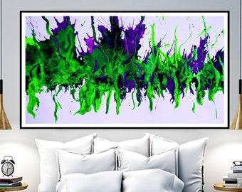 Abstrakte Kunst Giclee Leinwand Druck, original Gemälde, blau grün lila Leinwand, Wohnzimmer-Wand-Kunst, modernen Kunst, Acryl Original auf Leinwand