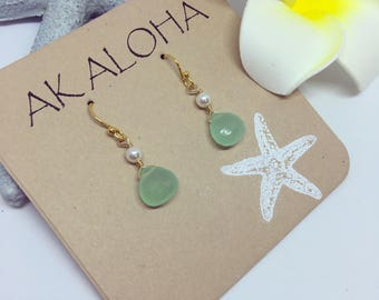 Gold Aqua Earrings, Aqua Blue Chalcedony, Pearl Earrings, Gemstones Hawaii Jewelry, Beach Earrings