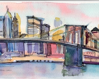 New York Bridge Original watercolor painting