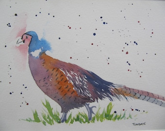 Pheasant - Original Watercolour, Birds, Game, Wildlife, Country, Art & Collectables.