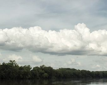 Landscape Photography, Cloud Photo, Water, River, Nature Decor, Summer, Blue Skies, White, Nautical Wall Art, Trees, Reflections - Floating