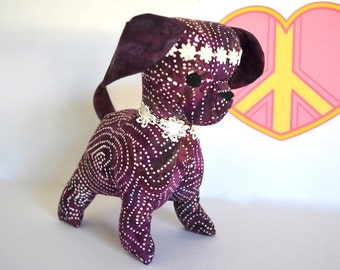 Soft toy hippie plush dog, gift for her, purple plushie, stuffed toy,