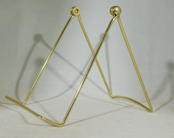 One Large Sized Gold Colored EASEL Display Stand for Plates, Fossils & More!