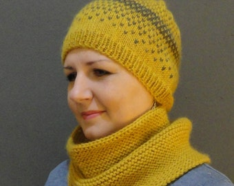 Mustard knitted cowl and beany, ready to ship