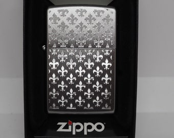 Fancy Polished French Fleur De Lis Zippo Lighter