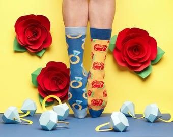 Sutter Socks, Women's Socks, Red Rose Socks, Mismatched Socks, Socks for Men with Diamond Ring Pattern