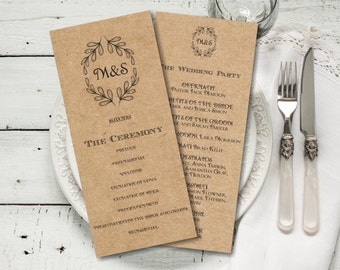 Rustic Wedding Program Template Download, Editable Text, Kraft Wedding Program, Instant Download PDF template, Tealength, digital PDF