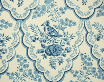 1950s Vintage Wallpaper by the Yard - Blue and Cream Floral Wallpaper with Bird