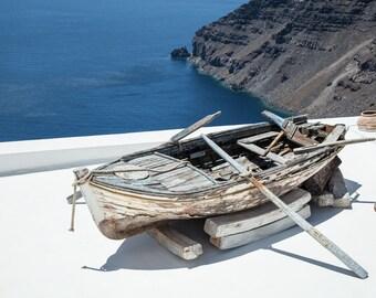 Boat travel photography art, Oia, Santorini Greece photography