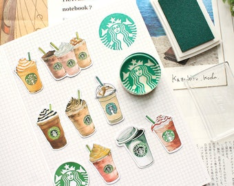 Starbucks Stamp, Starbucks stickers, Starbucks bookmark, ink pad, crystal stamp, Planner Stamp, Diary stamp, Rubber stamp, cute stamp