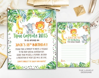 Jungle Time Capsule Sign,  Safari Time Capsule , Jungle First Birthday, Jungle Time Capsule Sign & Message Cards, Time Capsule,DIGITAL FILE