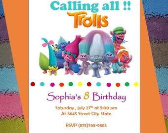 Troll Party Invitation and Envelopes ----Party