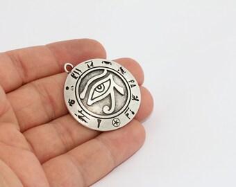 Antique Silver Egyptian Eye , Horus Necklace , Eye Charms , Medallion Pendant, Ra Pendant, AE61